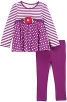 Kids Headquarters Purple Polka Dot Tunic & Leggings - Toddler & Girls