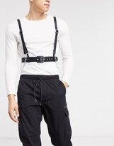 Asos Design DESIGN chest harness in black faux leather with chains