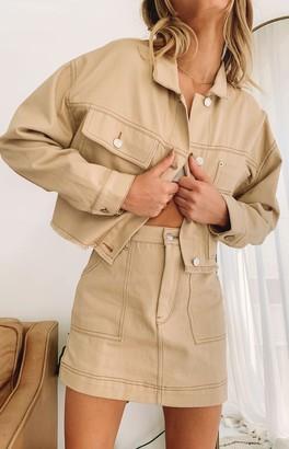 Beginning Boutique Gone Girl Crop Denim Jacket Beige