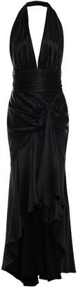 Alexandre Vauthier Asymmetric Draped Stretch Silk-satin Halter Gown