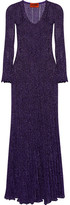 Missoni Pleated Metallic Knitted Gown - Purple