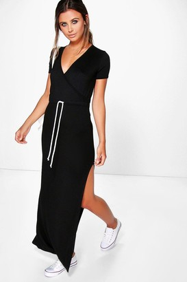 boohoo Petite Wrap Front Drawstring Waist Maxi Dress
