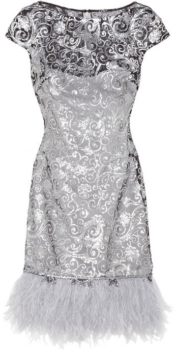 Notte by Marchesa Sequin and feather-embellished tulle and stretch-silk dress