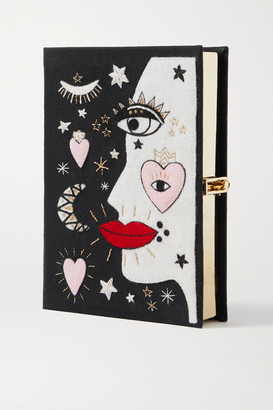 Olympia Le-Tan Face Embroidered Appliqued Canvas Clutch - Black