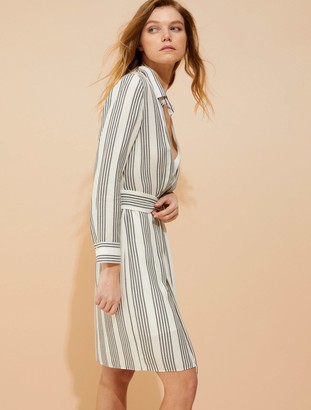 Halston Stripe gauze faux wrap shirtdress