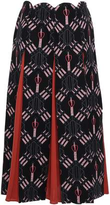 Valentino Printed Paneled Wool And Silk-blend Midi Skirt