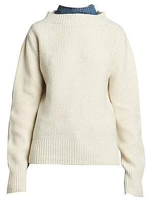 Sacai Women's Ruffled Denim Wool Knit Sweater