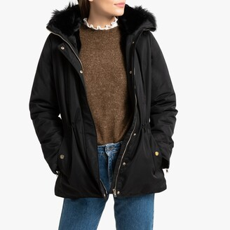 Naf Naf Mid-Length Hooded Parka with Faux Fur Collar and Pockets