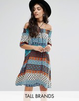Glamorous Tall Off Shoulder Contrast Geo Printed Shift Dress