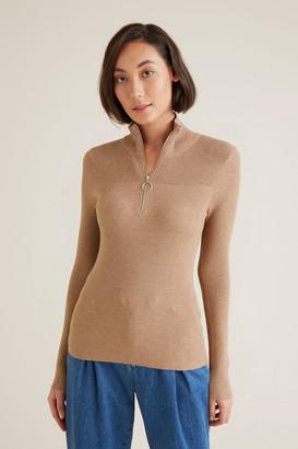 Seed Heritage Mock Neck Zip Sweater