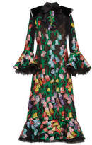 Gucci Floral organdy jacquard and lace dress