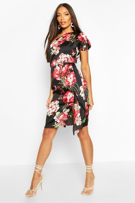boohoo Floral Print One Shoulder Drape Midi Dress