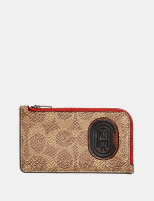 Coach L-Zip Card Case With Signature Canvas Blocking And Patch