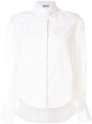 Brunello Cucinelli Sheer Sleeves Buttoned Shirt