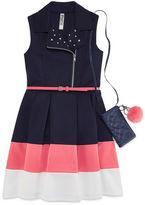 Knitworks Knit Works Belted Color Block Dress Moto Vest - Girls' 7-16