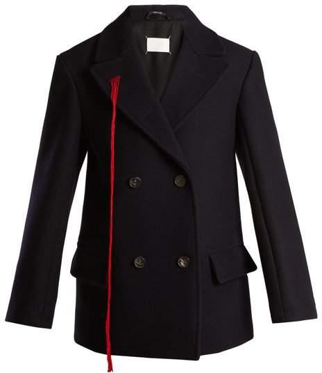 Maison Margiela Peak Lapel Double Breasted Wool Coat - Womens - Navy