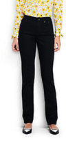 Lands' End Women's Petite Mid Rise Straight Leg Jeans-Black