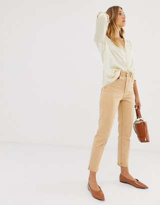 ASOS DESIGN high rise farleigh 'slim' mom jeans in Orange