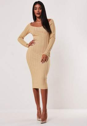 Missguided Camel Extreme Rib Sweetheart Midaxi Dress