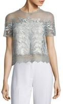 Elie Tahari Noreen Cropped Organza & Lace Top