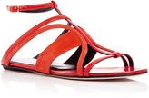 Oscar de la Renta Red Suede and Patent Leather Lexina Sandals