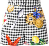 Dolce & Gabbana checkered print shorts with motif prints