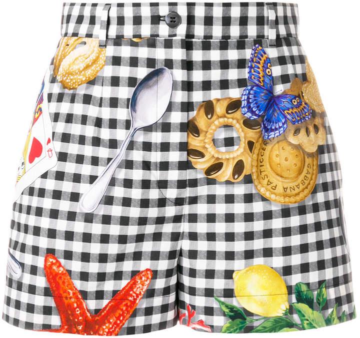 Dolce & Gabbana checkered print shorts with motif prints