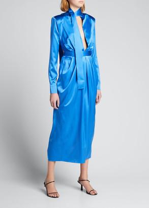 MATÉRIEL Deep-V Cutout Wrap Silk Dress