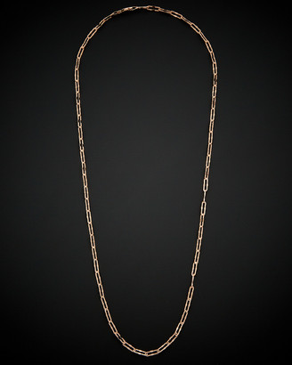 Italian Gold 14K Rose Gold Stardust Finish Paperclip Chain Necklace