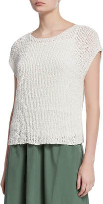 Eileen Fisher Bateau-Neck Tape Cap-Sleeve Sweater