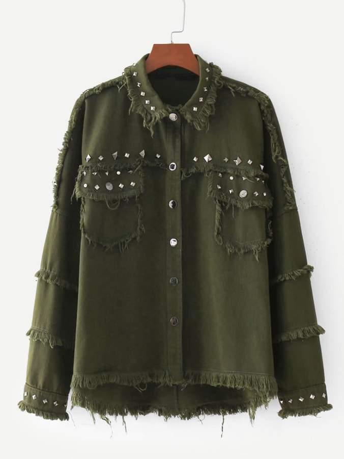 Frayed Edge Studded Jacket