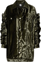 Opening Ceremony Ruffle-trimmed Velvet Jacket - Army green