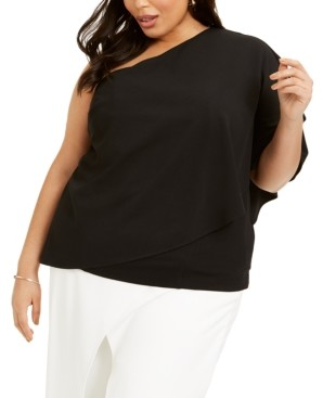 Adrianna Papell Plus Size One-Shoulder Crepe Top
