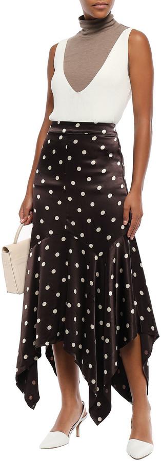 Thumbnail for your product : Ganni Cameron Asymmetric Polka-dot Satin Midi Skirt