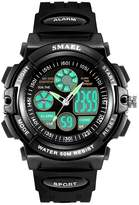 Linwach Black Kid's Boy's Students Waterproof Analog Digital Watches
