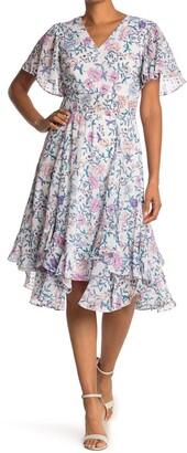 Tahari Floral Flutter Sleeve Smocked Tea Dress