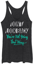 Chin Up Apparel Women's Tank Tops BLK - Black Heather 'Don't Look Back' Raw-Edge Racerback Tank - Women
