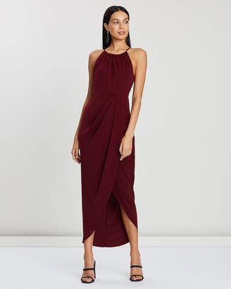 Shona Joy High Neck Ruched Dress