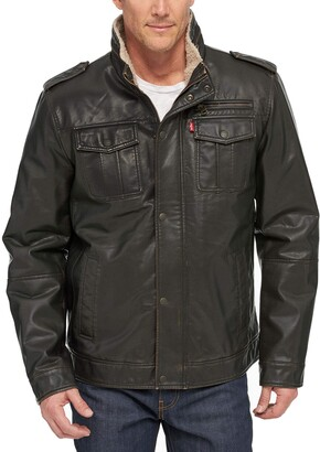 Levi's Men's Vintage Deer Faux Leather Sherpa Military Jacket Big & Tall