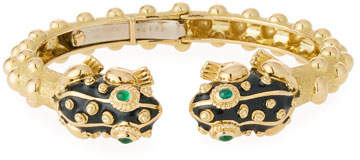 David Webb 18k Gold Baby Frog Cuff Bracelet in Black Enamel