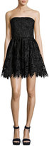 Alice + Olivia Daisy Strapless Lace Party Dress, Black