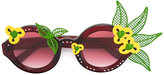 Linda Farrow floral motif round sunglasses - women - Acetate/Metal (Other) - One Size