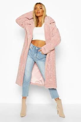 boohoo Oversized Textured Faux Fur Coat