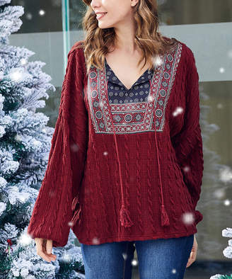 Luukse Women's Pullover Sweaters 101BURGUNDY - Burgundy & Navy Medallion Cable-Knit Peasant Top - Women & Plus