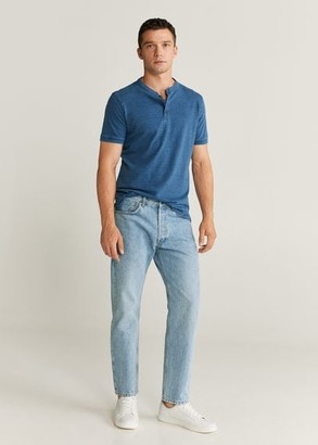 MANGO MAN - Henley cotton T-shirt indigo blue - XXL - Men