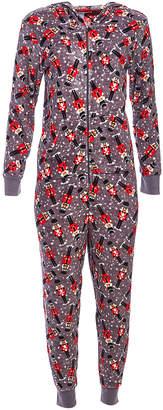 Pillow Talk Women's Sleep Bottoms CHRISTMAS - Gray Nutcraker Hush Plush Hooded One-Piece Pajama - Women