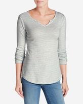 Eddie Bauer Women's Favorite Notch Neck Long-Sleeve T-Shirt - Stripe
