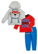 Nannette Little Boy's Super Dude Hoodie, Graphic Tee and Joggers Set