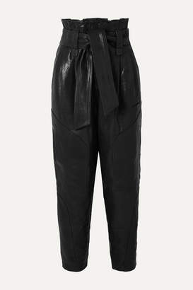 IRO Bahio Belted Leather Tapered Pants - Black