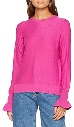Vero Moda Women's Vmgaltine Ls Ruffle Cuff Blouse Jumper, Pink Rose Violet, 12 (Size: Medium)